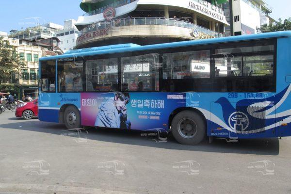quảng cáo trên xe buýt cho thần tượng Hàn Quốc