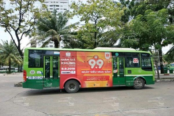 Shopee quảng cáo trên xe buýt