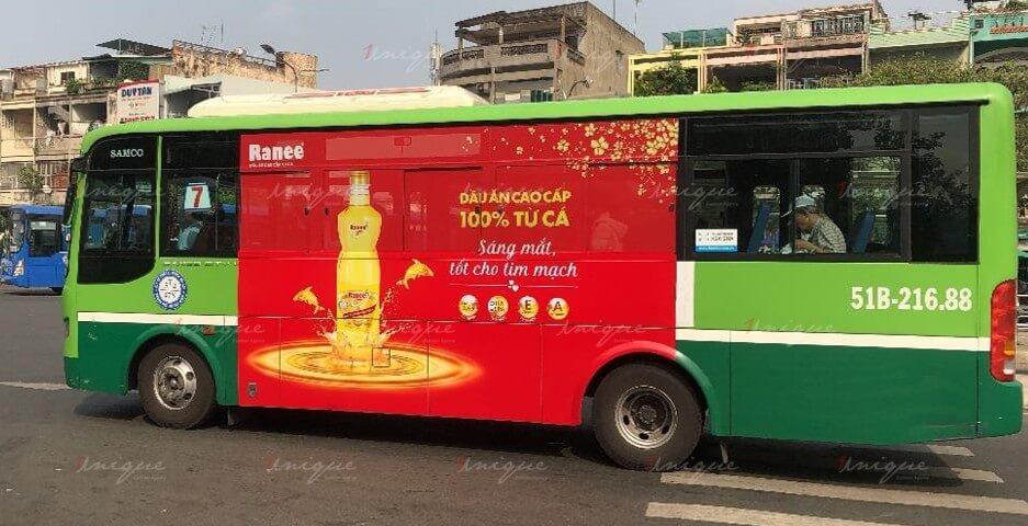 quảng cáo trên xe buýt cho dầu cá ranee