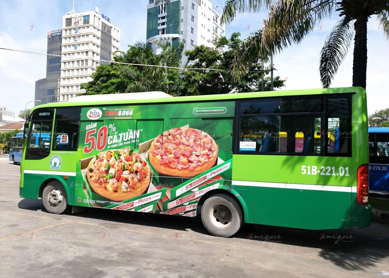 the pizza company quảng cáo xe buýt