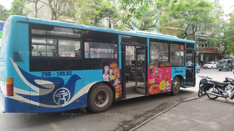 quảng cáo xe buýt cho mỳ koreno volcano