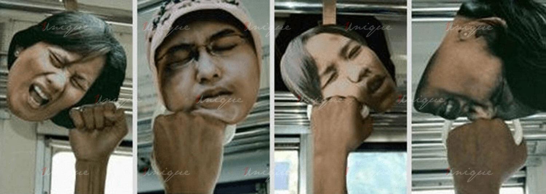 quảng cáo tay cầm xe buýt 3d